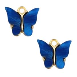 Bedel Vlinder Blauw / Goud 15x13mm