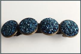Haarknip Brons met 4 Donkerblauwe Resin Cabochons