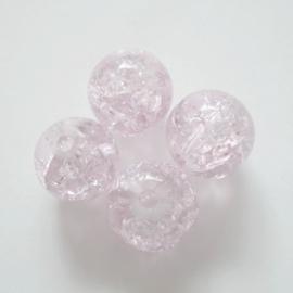 Glaskraal Crackle rond 8mm – Lichtroze - 10 stuks