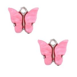Bedel Vlinder Roze  - Zilver 15x13mm