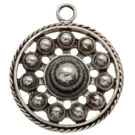 Zeeuwse Knop Hanger - Antiek Zilverkleur Metaal - 32mm