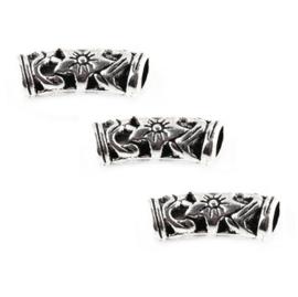 Metalen buiskraal bewerkt - met gat - zilverkleur - 30x5mm - gat ca 4mm