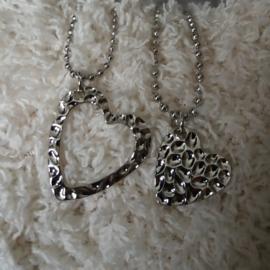Zilverkleurige Halsketting voor Moeder en Dochter - Hart