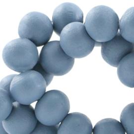 Houten kralen 6mm Rookblauw - 30 stuks