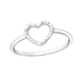 Zilveren Ring met Hartje - 925 sterling zilver
