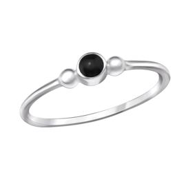 Zilveren Ring met Zwart Epoxi Steentje - 925 sterling zilver