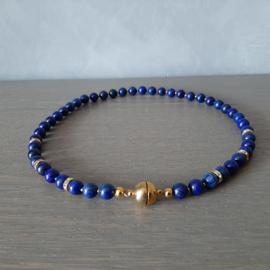 Lapis Lazuli Halfedelsteen Kralenketting met Magneetsluiting