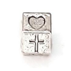Metalen kraal met groot gat - geloof en liefde - 8.5x6.5 - gat 5mm
