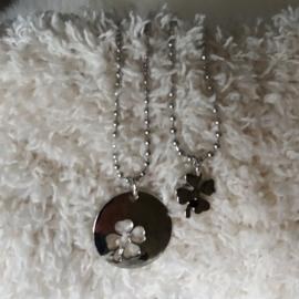 Zilverkleurige Halsketting voor Moeder en Dochter - Klaver Vier