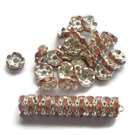 Strass Rondellen kristal - Silver Plated -  8mm - Golvend – Roze - 10 stuks