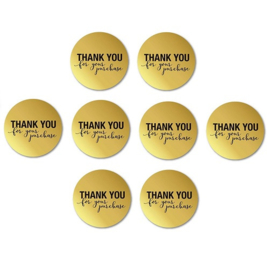 Goudkleur stickers met tekst  ' thank you for your purchase'  - 2.5cm - 10 stuks