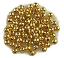 Metalen kralen 3mm goudkleur - 40 stuks