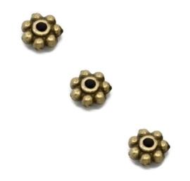 Spacer kralen metaal - Brons- 4 of 6mm - 25 stuks