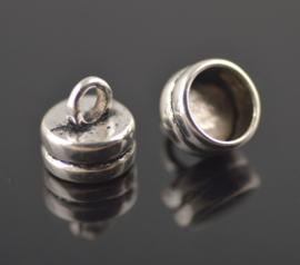 Eind kapjes met oog - metaal - oud zilverkleur - 2 stuks - 2 formaten