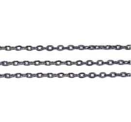 Ketting met ovale schakel 2x3mm - Gunmetal - 1 meter