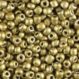 Glas rocaille 4mm (6.0) Olijf Goud Metallic - Per zakje ca 5 gram