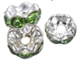 Strass Rondellen kristal - Silver Plated - 8mm - Lichtgroen - 10 stuks