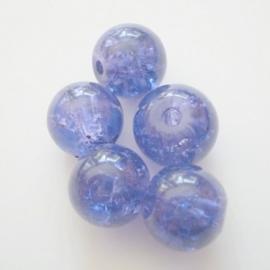 Glaskraal Crackle rond 8mm – Donkerpaars - 10 stuks