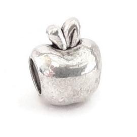 Metalen kraal bloem met groot gat - appel