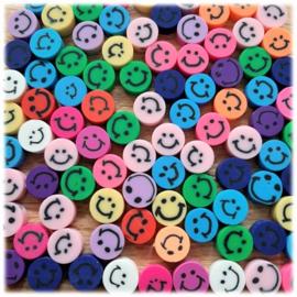 Smiley Polymeer Kralen 10mm - mix van 10 stuks