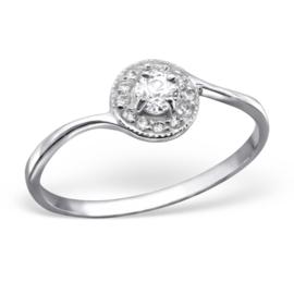 Zilveren Ring Rond met zirkiona s - 925 sterling zilver