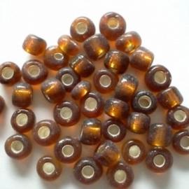 Glas rocaille 4mm (6.0) Bruin Silverlined - Per zakje ca 55 stuks