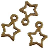 Bedel Hanger Open Sterretje – Metaal –  14x11mm - Antiek Brons - 10 stuks