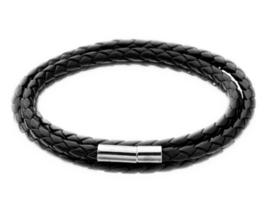Gevlochten jongens / heren wikkelarmband zwart