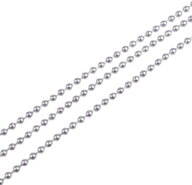 DQ Bolletjesketting - stainless steel - rvs - 1.5mm, 2mm, 2.4mm of 3mm - 50cm