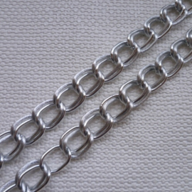 Ketting met dubbele Schakel ± 14x20mm - Aluminium -  50cm