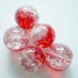 Glaskraal Crackle rond 10mm – Duo Kristal Rood - 10 stuks