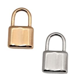 RVS Hangslot hanger goud of zilverkleur 22x15x4mm