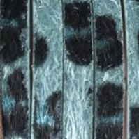 Plat Imitatieleer Vachtkoord 5x2mm - Petrol-Zwart - 20cm