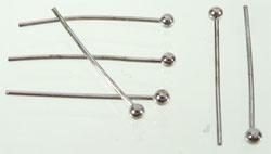 Metalen Nietstift met Bolletje - Silverplated - 20mm - 100 stuks