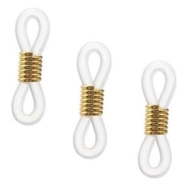 Brillenkoord eindje – rubber - 20x6mm wit/goud - 10 stuks