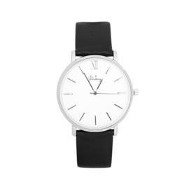 Horloge Zilverkleur met Zwart Leren Bandje - Ø 40mm