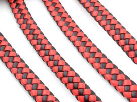 Imitatieleer band gevlochten 9,5mm x4mm – Rood Zwart - 20cm