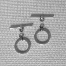 Kapittelsluiting Metaal oud zilver ca 22mm rond