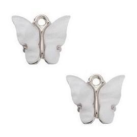 Bedel Vlinder Wit / Zilver 15x13mm