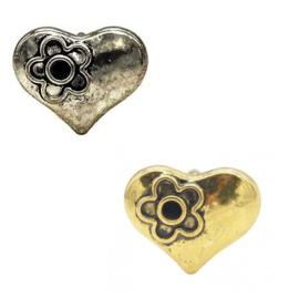 Schuifkraal metaal - hartje - 13x10mm - met kastje voor similisteen - voor rond leer/koord