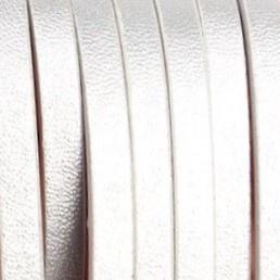 Plat Imitatie leerkoord - 5x2mm - zilver - 20cm