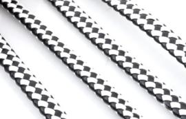 Imitatieleer band gevlochten 9,5mm x4mm - zwart/wit - 20cm