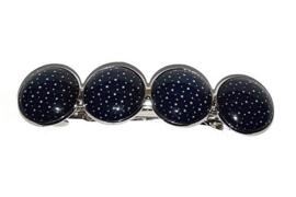 Haarknip Zilverkleur met 4 Cabochons - 8.5 x 2.2cm - donkerblauw met sterretjes