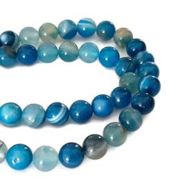 Blauwe Streep Agaat Kralen 6 of 8mm - halve streng