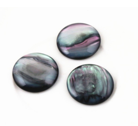 Resin Zwarte Schelpkleur Cabochon Rond 12mm, 18mm of 20mm