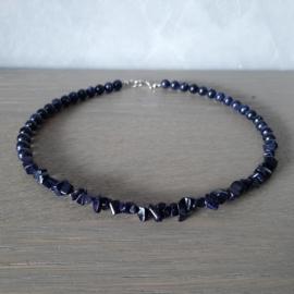 Halsketting van Donkerblauwe Zandsteen Kralen - 45cm