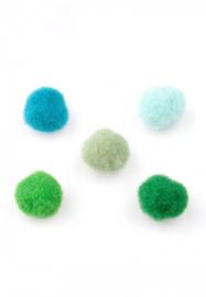 Pompon Balletjes - Bedels - Stof - Groen Blauw Mix -10mm - 20 stuks