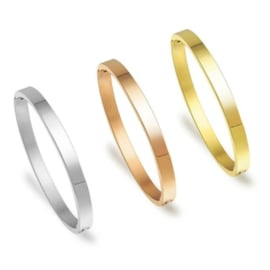 Bangle armband stainless steel - Glad - maat L - 6.3x5.3cm - 6mm breed