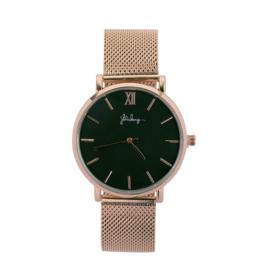 Horloge met Stalen Bandje - Rosé Goudkleur met Zwarte Wijzerplaat - Ø 40mm