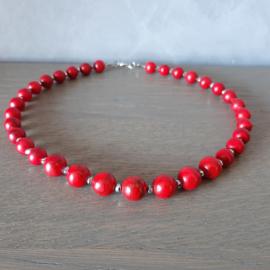 Halsketting rood geaderde natuursteen kralen  - 44cm